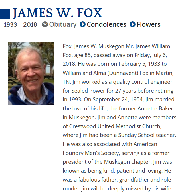 James Fox Obituary